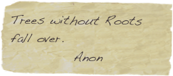 Trees without Roots fall over.